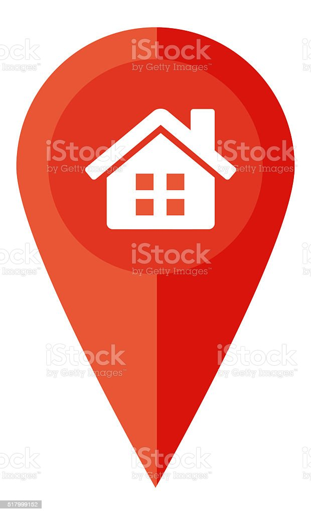Pin and home check in stock photo