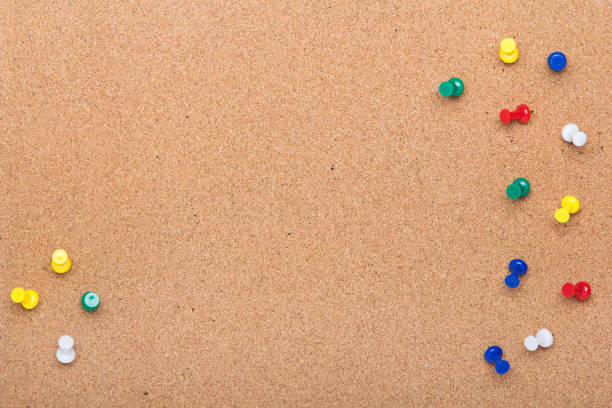 pin board texture for background and colorful pins frame - bulletin board stock pictures, royalty-free photos & images
