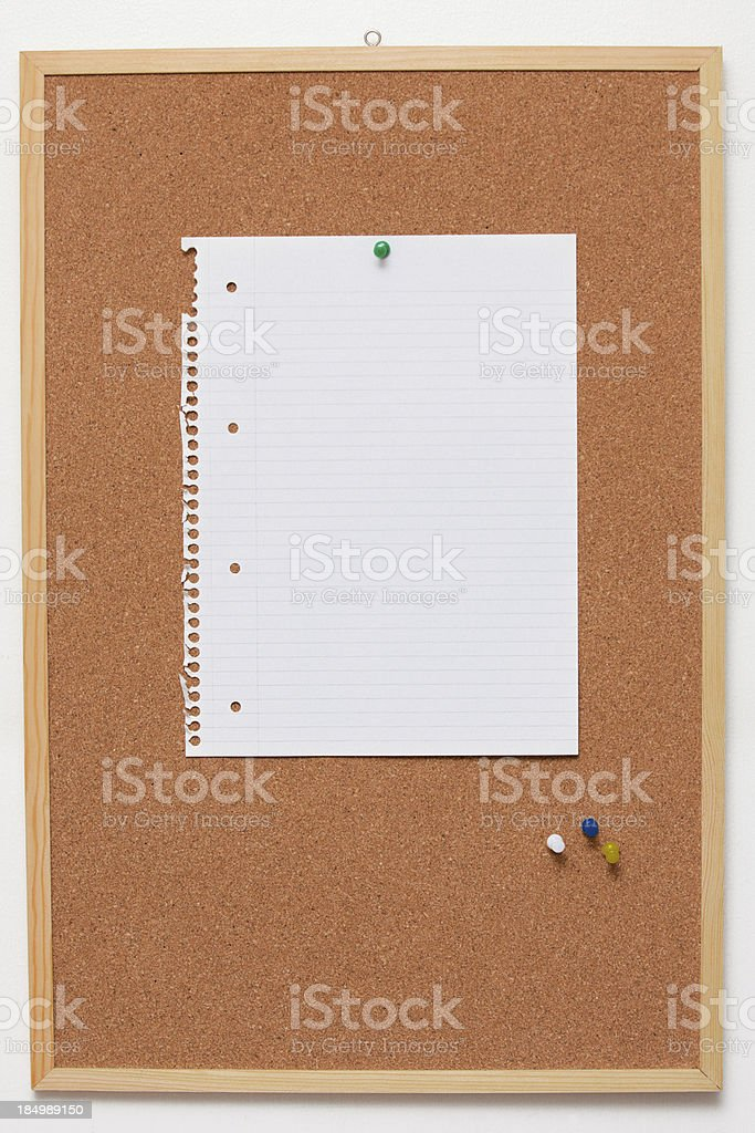 Pin Board with Paper royalty-free stock photo