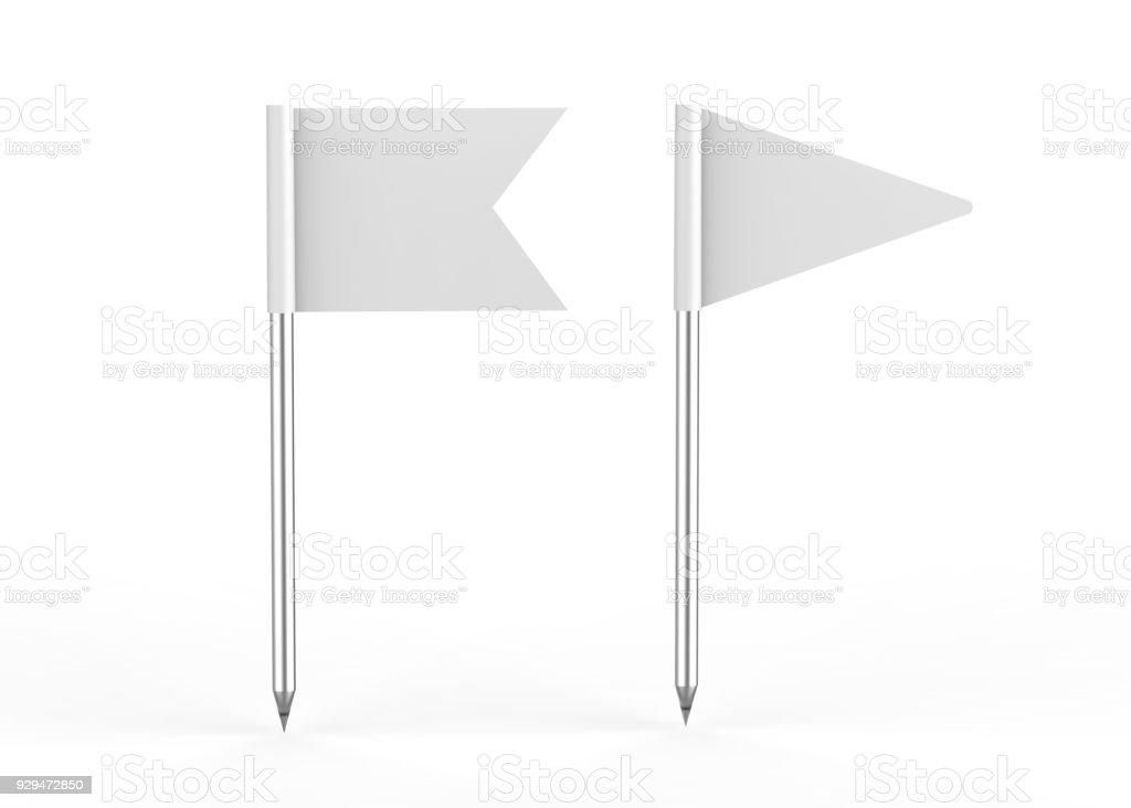 Pin flag on isolated white background, 3d illustration stock photo