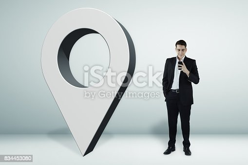 istock 3D pin icon and the businessman 834453080