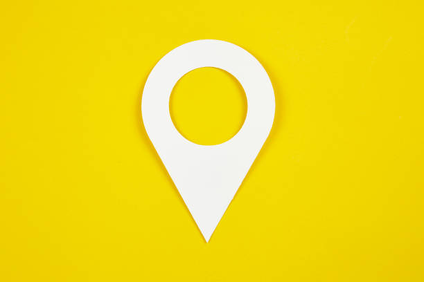 Pin icon concept Pin icon on yellow background straight pin stock pictures, royalty-free photos & images