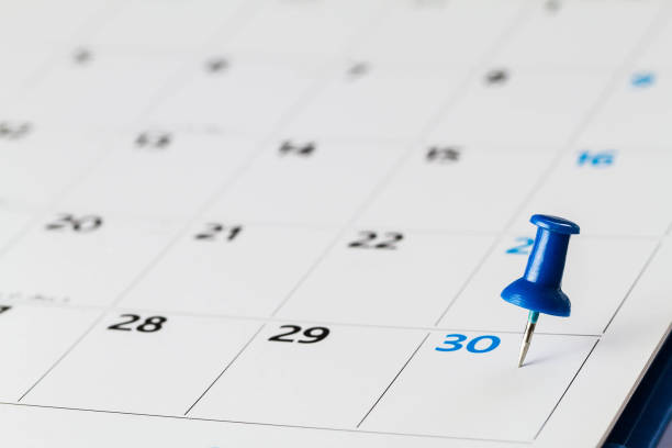 Pin on calendar on  30th of the month, business concept Pin on calendar on  30th of the month, business concept day stock pictures, royalty-free photos & images