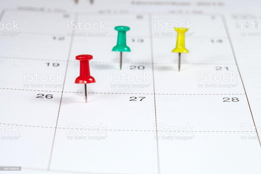 pin on White Calendar Closeup shot stock photo