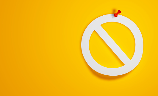 Pin Paper Forbidden Symbol on Yellow Background