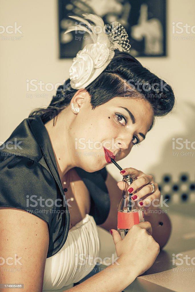 Pin up girl at the bar royalty-free stock photo