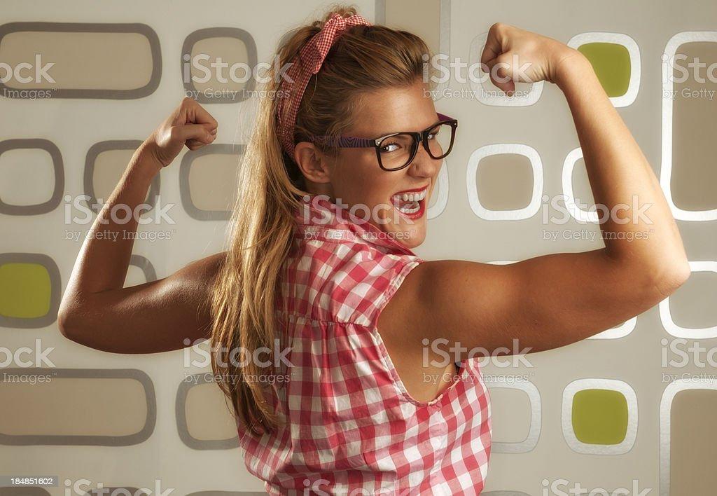 Pin up girl strong royalty-free stock photo