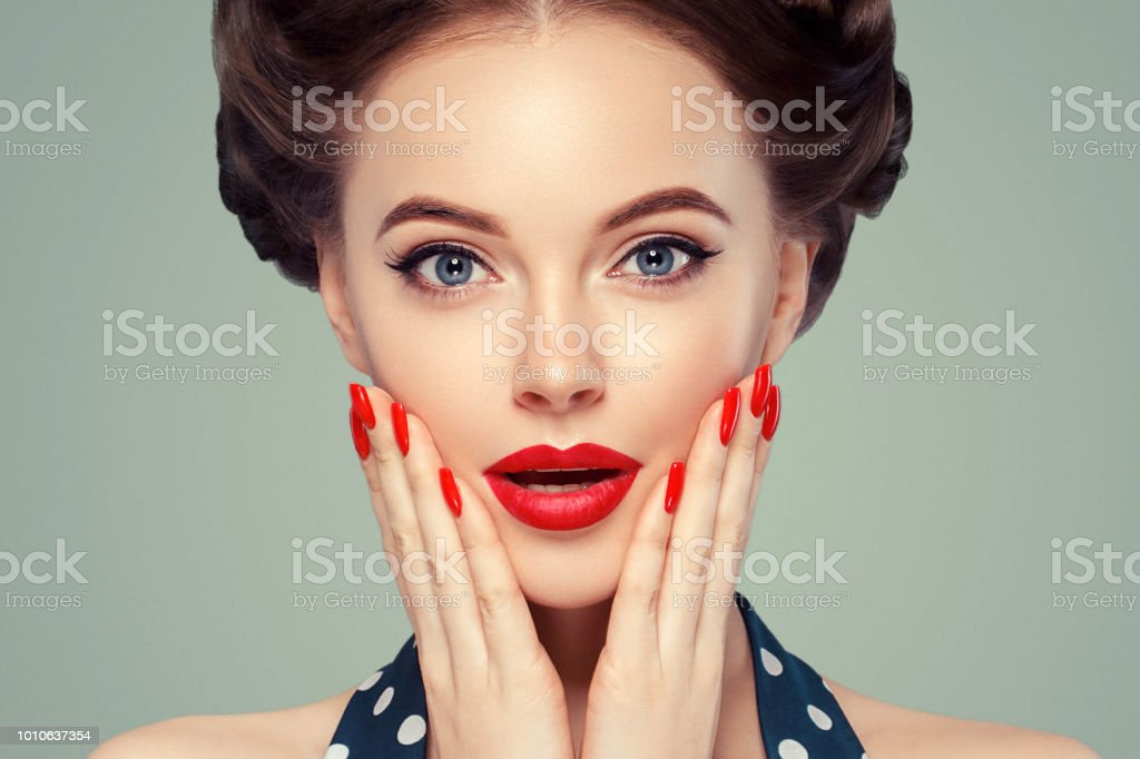 Pin up girl vintage. Wow expressions emotion! Beautiful woman pinup...
