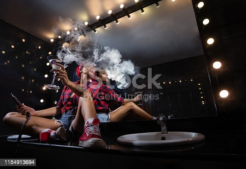 Pin up girls in nightclub having fun
