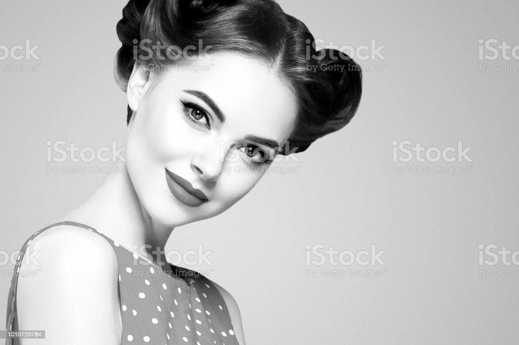 a2d412592b73 Pin up woman portrait. Beautiful retro female in polka dot dress with red  lips royalty