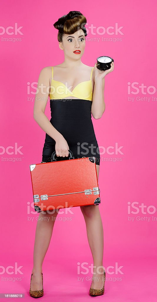 pin up woman with luggage royalty-free stock photo
