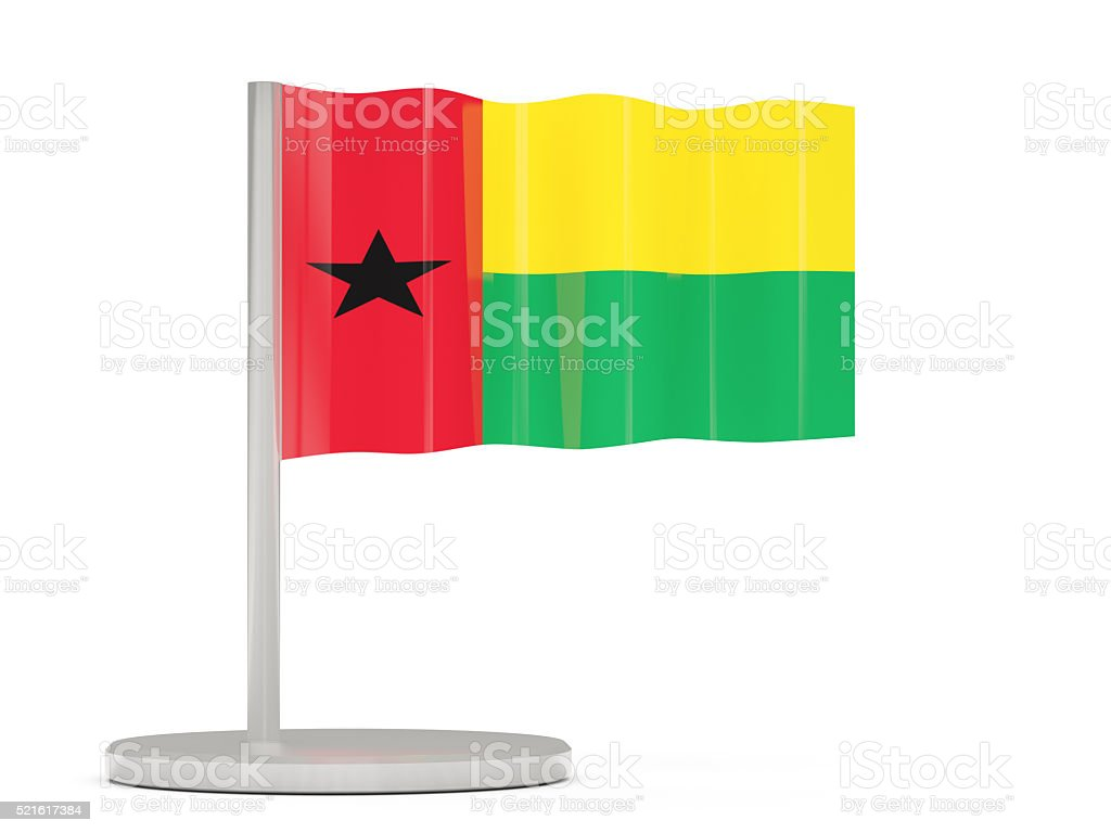 Pin with flag of guinea bissau stock photo