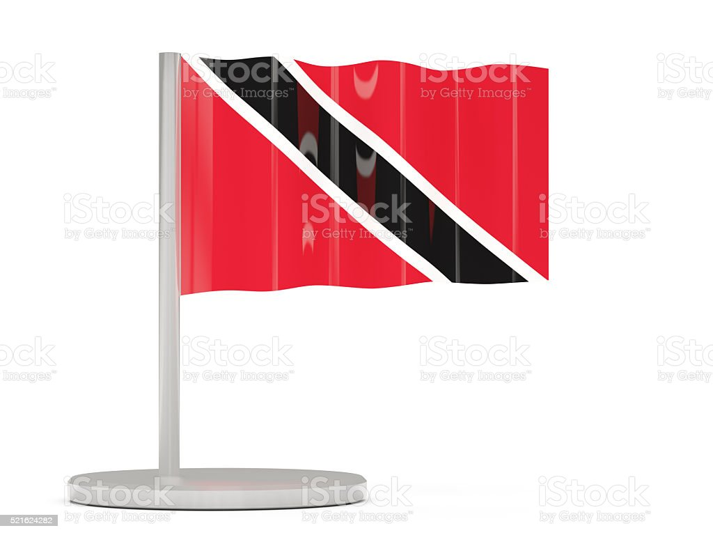 Pin with flag of trinidad and tobago stock photo