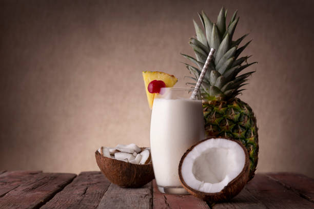 Pina Colada and fresh coconut stock photo