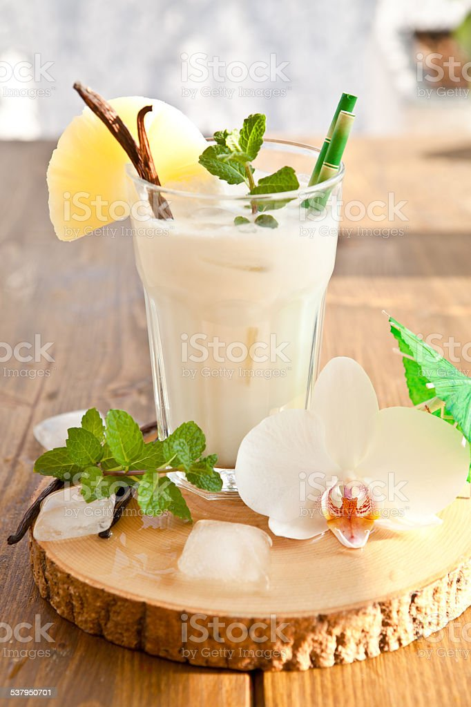 Pina Colada with pineapple stock photo