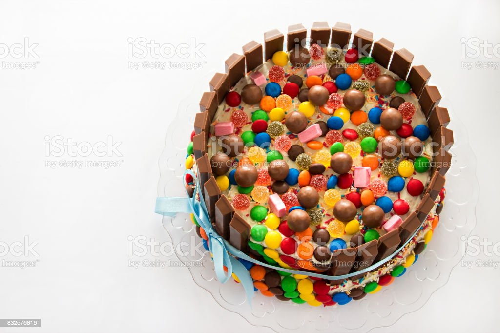 Pinata Cake Multicolored Candies Stuffed Birthday With Sweets Inside Copy Space