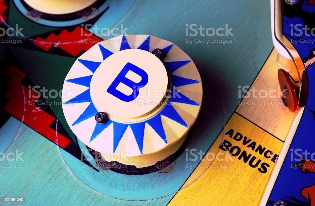 Pinball machine 'B' bumper stock photo
