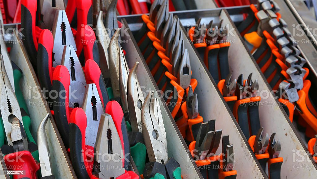 pincers and cutters for sale in hardware store stock photo