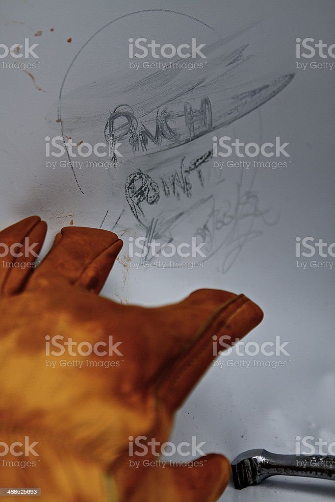 Pinch Point on hand stock photo