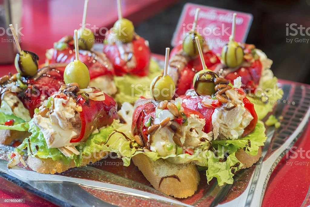 Pinchos, traditional Basque Country appetizer stock photo