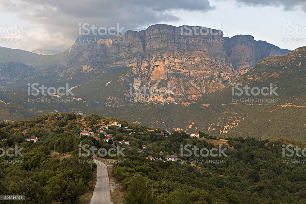 Pindos mountains and landscape from Greece stock photo