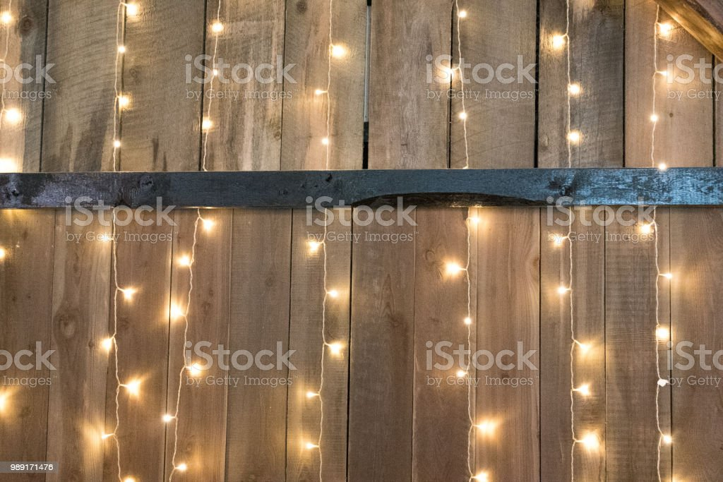 Pine board with lights and metal strip stock photo