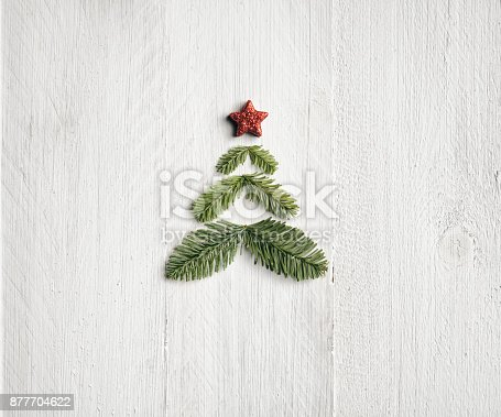 istock Pine branche christmas tree - Background Nature Wood White 877704622
