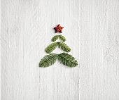 Pine branche christmas tree - Background Nature Wood White
