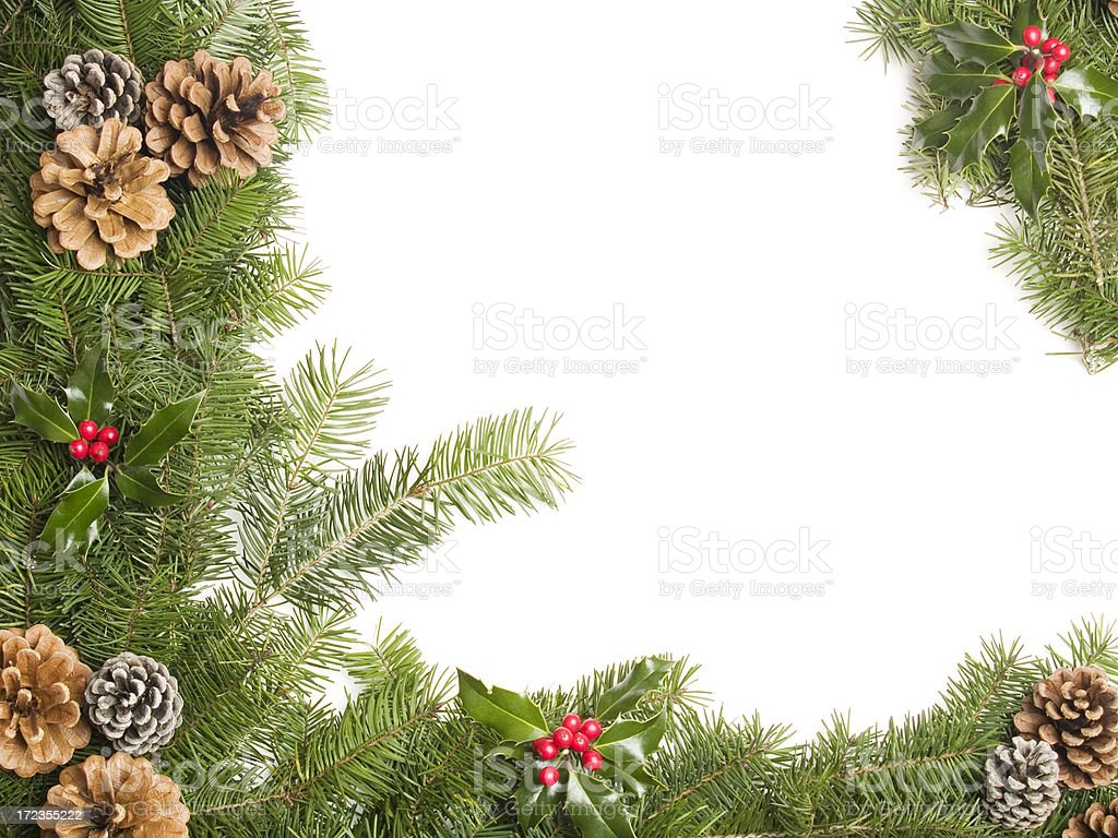pine cone and holly border royalty-free stock photo