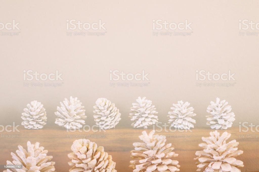 Pine Cone Christmas Decoration Background stock photo