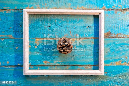 istock pine cone lies in a white empty frame 999087344