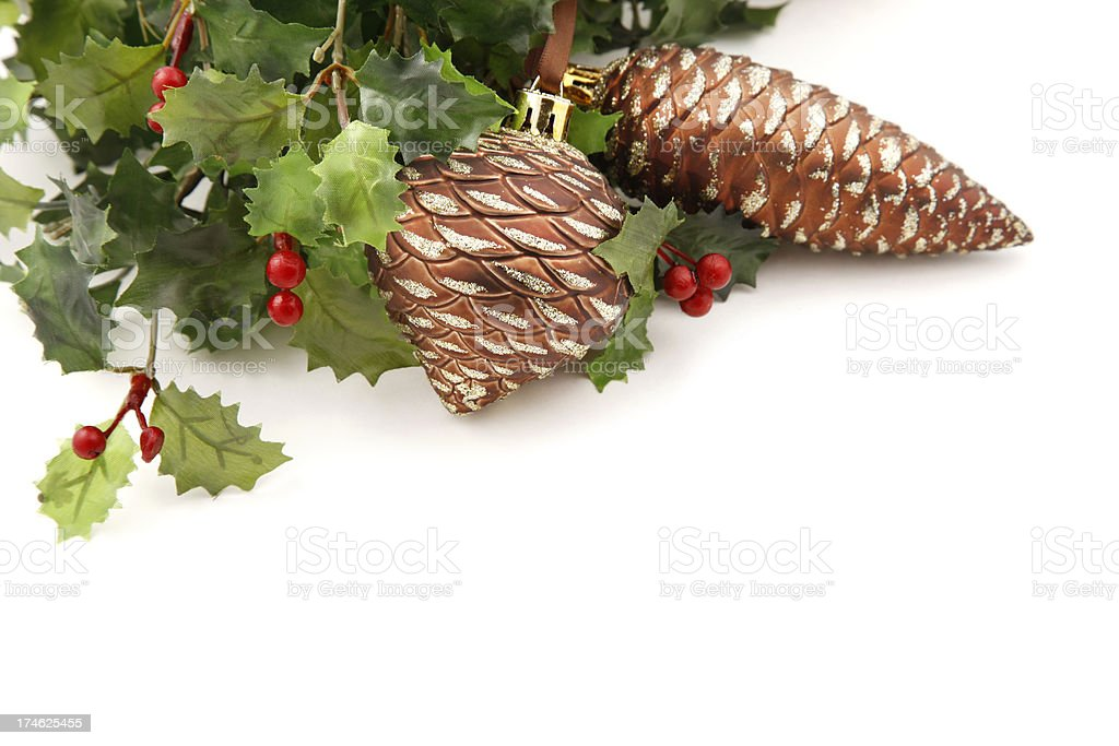 Pine Cone Ornaments and Holly royalty-free stock photo
