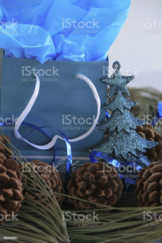 Pine Cones and gift royalty-free stock photo