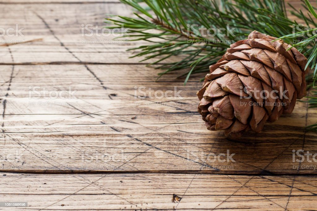 Pine cones and spruce branches on wooden background. Selective...