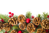 istock Pine cones festive background with fir branch 894696054