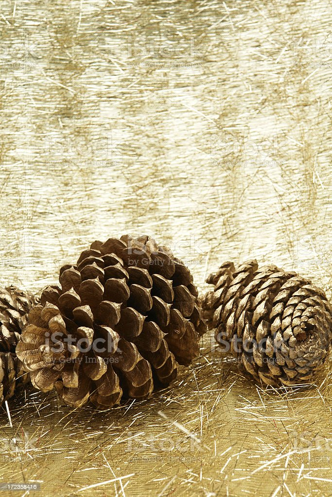 Pine cones on gold tinsel background royalty-free stock photo