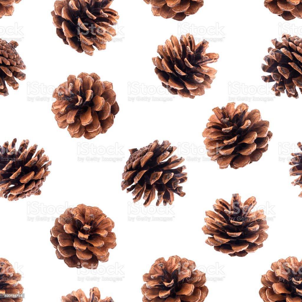 Pine cones seamless pattern stock photo