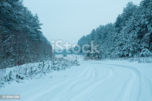 1061644120 istock photo Pine forest in winter. Rural road covered with snow 619084268