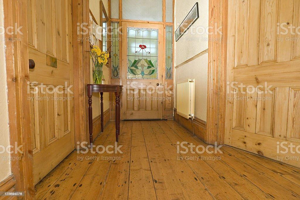 Pine Hallway stock photo