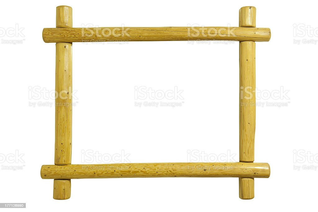 Pine log picture frame isolated on white stock photo