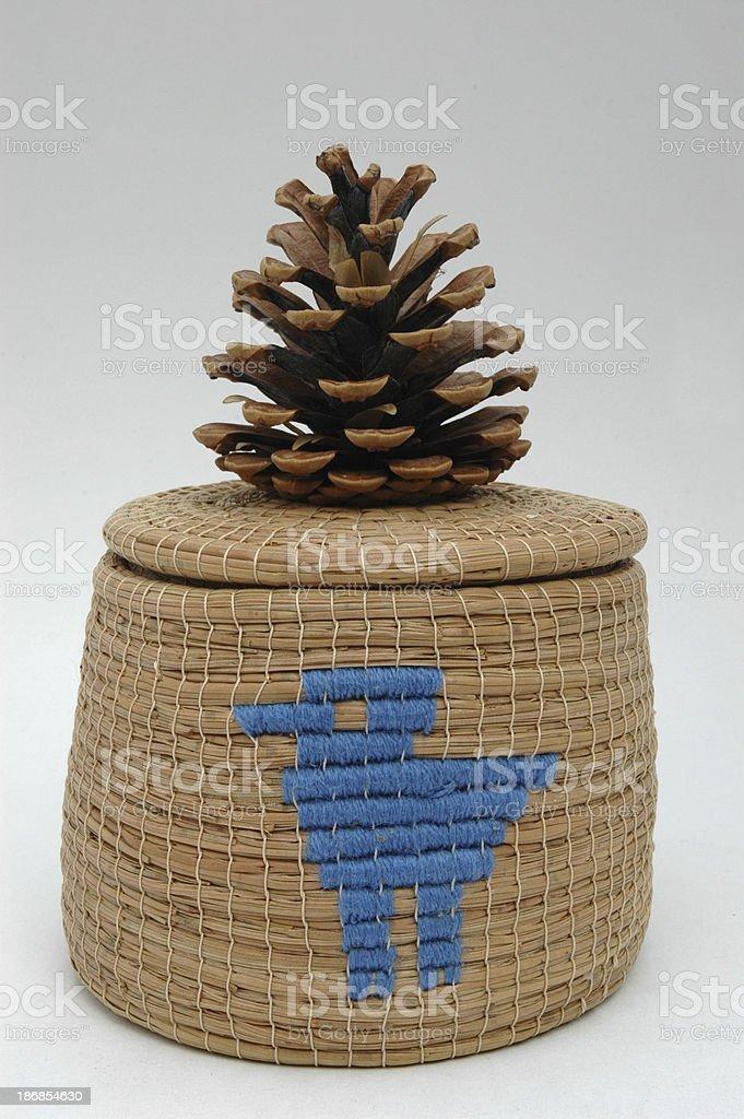 Pine Needle Basket stock photo