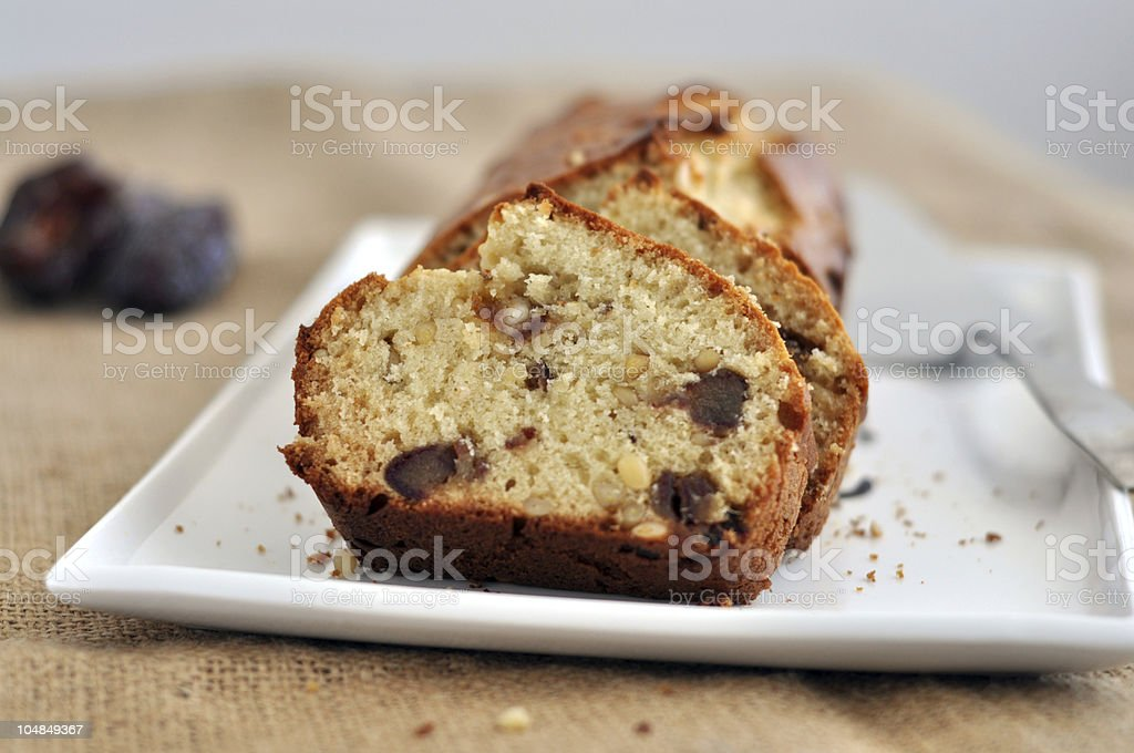 Pine nut and Date loaf cake royalty-free stock photo