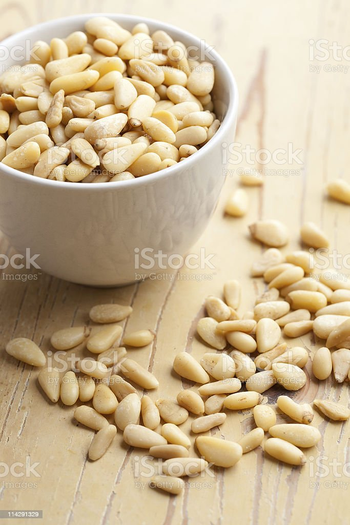 pine nuts in bowl royalty-free stock photo