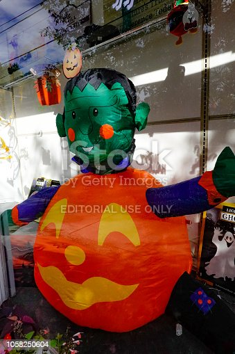 Pine Plains, New York USA October 10, 2018  The pharmacy on Main Street with Halloween decorations.