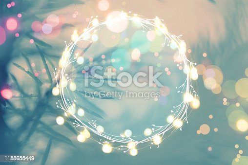 875265254 istock photo Pine tree background for Christmas Decoration with light garland and copy space for your text 1188655449