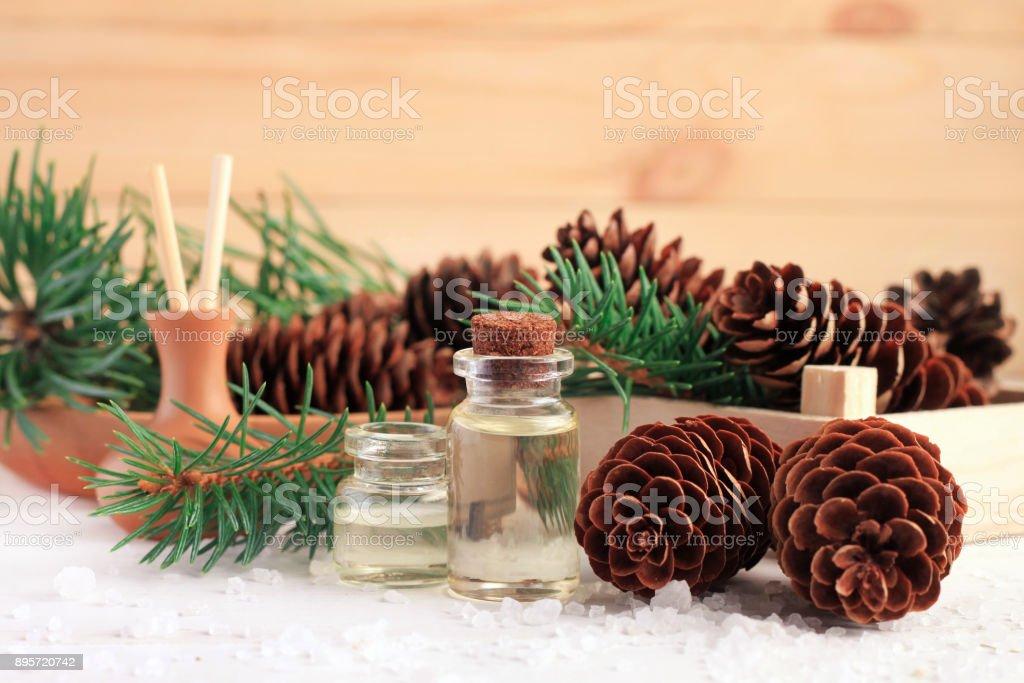 Pine tree essential set for aromatherapy stock photo