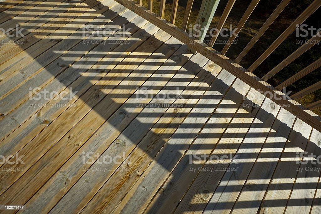 Pine Wood Stock Lumber Patio Deck Building, Railing, Floor, Shadow royalty-free stock photo
