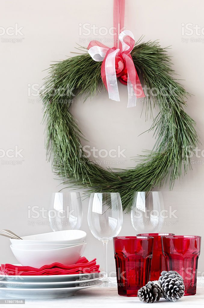 Pine wreath and table top decoration for christmas royalty-free stock photo