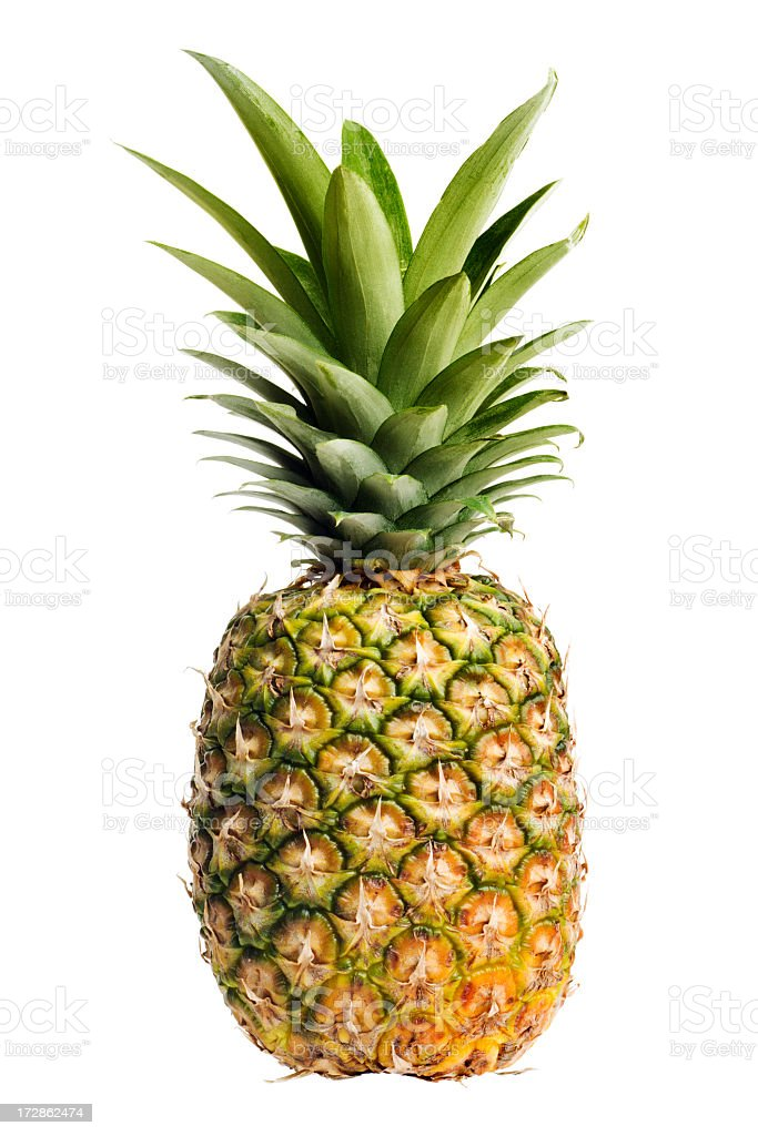 Pineapple, a Ripe, Fresh Fruit Food, Whole, Isolated on White stock photo