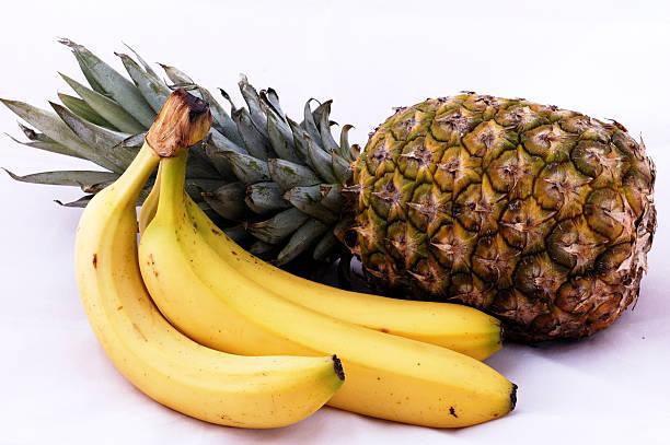 Pineapple and Bananas stock photo